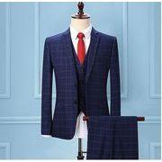 メンズファッション 5点セットスーツ 結婚式 披露宴 通勤 フォーマル スリーピーススーツ チェック柄