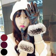 【一部即納】手袋 レディース 防寒 小物 雑貨 ファー あったか 黒 ブラック