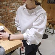 シャツ ブラウス ゆったり ボリューム袖 ラウンドネック 薄手 純色 着まわし #88166