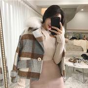 秋冬 新しいデザイン 韓国風 気質 何でも似合う 毛皮の襟 グリッド 短いスタイル 手厚