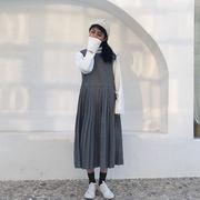 韓国風 ルース 羊毛の ノースリーブ ワンピース 女の子の長いセクション 何でも似合う