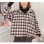 シャツ ブラウス 切替 重ね着風 レイヤード Vネック チェック柄 ゆったり 全2色 r3001684