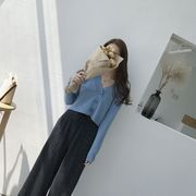 アンティーク調 韓国風 秋 新しいデザイン 着やせ 襟 大 ボタン ハイウエスト 短いス