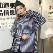 早春 新しいデザイン 女性服 韓国風 ブラッシュ 手厚い ルース 縦縞 長袖シャツ 学生