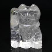 【彫刻置物】招き猫 水晶・財 約32x40mm ※ネコポス不可※