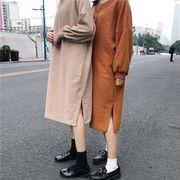 秋冬 女性服 韓国風 ルース アンティーク調 スプリット ニッティング ワンピース 学