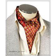 エレガント袋縫い幾何学柄メンズ用100%シルクスカーフ 10129b