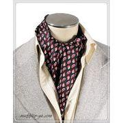 袋縫いエレガントなペーズリー柄入りメンズ用100%シルクスカーフ 10132a