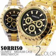 正規品SORRISOソリッソ 定番デザインにゴールドカラーの腕時計 フェイククロノグラフ SRHI10 メンズ腕時計