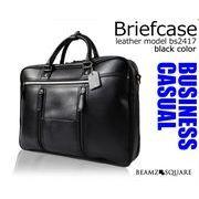BEAMZSQUARE 牛床革製ビジネスバッグ BS-2417BKブリーフケース