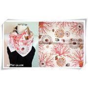 珊瑚と貝柄♪100%シルクプチスカーフ 04024