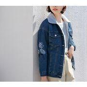デニムコート 裏起毛 刺繍 デニム フラワー 花 韓国風 ファッション 全2色 r3001914