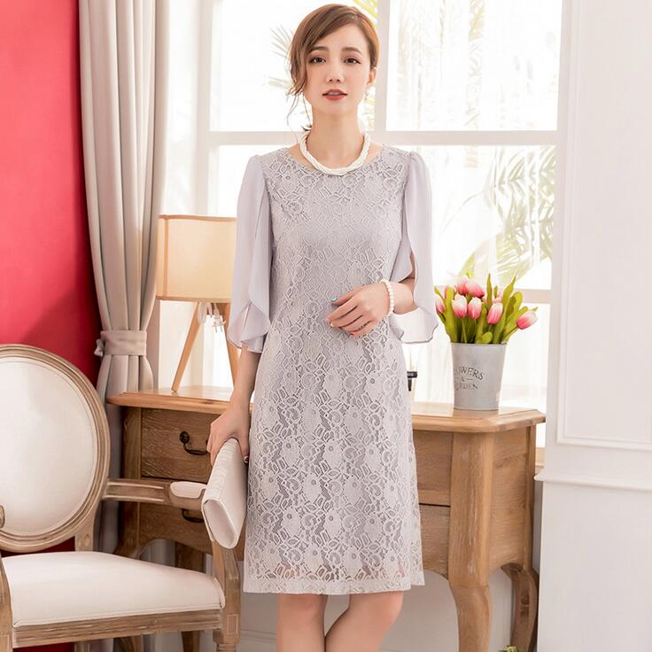 レースドレス 大きいサイズ 披露宴ドレス 半袖ワンピース