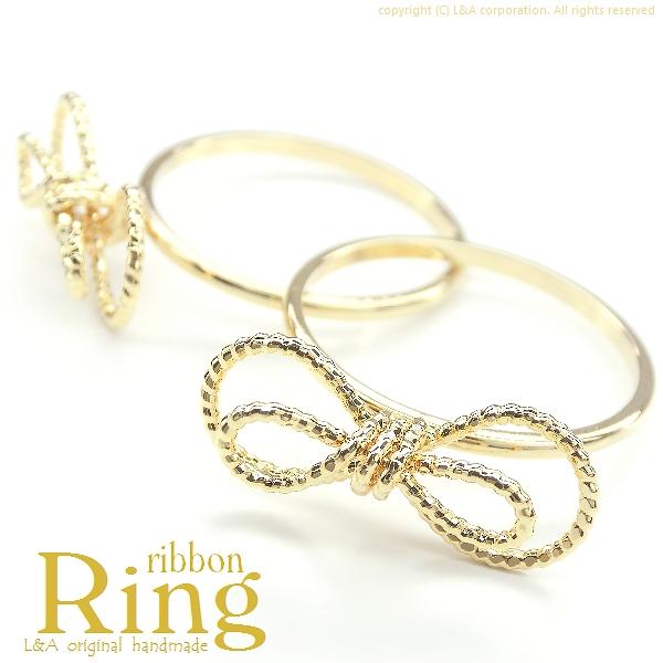 ★L&A Original Parts★Ribbonの指輪★繊細&華奢なデザイン♪最高級鍍金★
