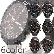 アクセントカラーが目を引く ラバーベルトミリタリーメンズウォッチ フェイクダイアル AV028 メンズ腕時計
