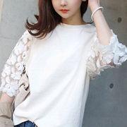 【即配】カットソー フラワー 七分袖 花柄 刺繍 レース トップス Tシャツ 無地 ◆メール便対応可◆