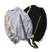 秋冬新作 メンズTシャツ 長袖トップスシンプル大きいサイズ グレー/ブラック2色