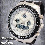 アナデジ デジアナ HPFS584-SVBK アナログ&デジタル 防水 ダイバーズウォッチ風メンズ腕時計 クロノグラフ