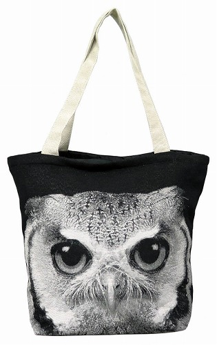 <AMANO>【ジャガード織りバッグ】【トートバッグ】BAG・オウル フクロウ柄