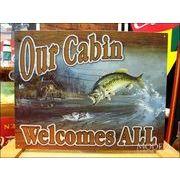 アメリカンブリキ看板 私達のキャビンは誰でも歓迎する