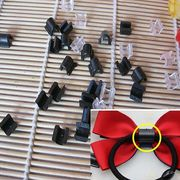 10個 ヘアゴム用 プラスチック製 留め具 クリア ブラック 髪飾り ヘアアクセ デコパーツ