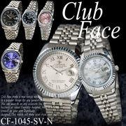 【ケース有or無】☆CLUB FACE  腕時計 アラビア数字 魚眼 日付 ペアウォッチ◇CF-1045SV-N