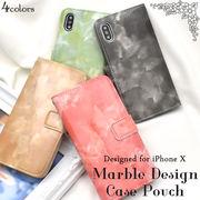 <アイフォンテン用>iPhone X用手帳型大理石柄レザーケースポーチ