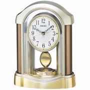 SEIKO セイコー 置き時計 電波 アナログ 飾り振り子 薄金色パール BZ238B