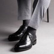 【 London shoe make 】 【牛革】グットイヤーウエルト製法 メンズ  デュプイレザー セミブローグ 321