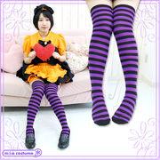 ■送料無料■ ボーダーニーハイ1cm 色:紫×黒 サイズ:フリー ■ニーソ■オーバーニー■