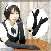 ■送料無料■ サテン手袋 色:黒 サイズ:F