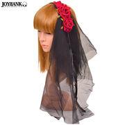 真っ赤な薔薇付きブラックベールカチューシャ 【ローズ/ウェディング/ヘッドドレス】