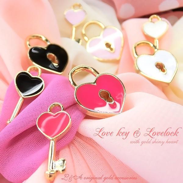 "★L&A Original Parts★K16GP★ハートのカギチャームで愛を確かめて♪76""lovekey & lovelock"""