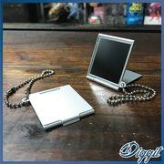 【SALE】アルミニウム・携帯型ミラーキーホルダー・鏡・化粧直し・エチケット