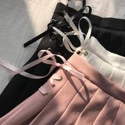 春夏 新しいデザイン 韓国風 カレッジ風 ハイウエスト 包帯 スカート スカート 学生