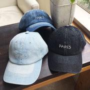 ▼MAGGIO▼【程よいヴィンテージ感】コーデのアクセントに♪ PARIS刺繍ロゴ入りデニムキャップ(帽子)