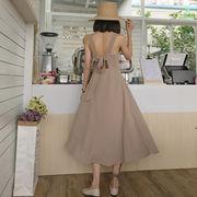 夏服 女性服 韓国風 背中開き リボン 包帯 シングル列ボタン ウエスト スリング グリ