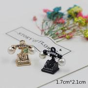 デコ電デコパーツ電話 立体構造真珠パールパーツ - 手芸 クラフト 生地 材料   全7色