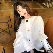 春 韓国風 中長デザイン ルース 着やせ シングル列ボタン カーディガン トップス 女