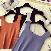 夏 女性服 新しいデザイン 韓国風 インナー 単一色 ノースリーブ スリング ニット 着