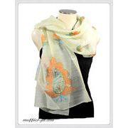 オリジナルデザインインドハンドメイドアーリ刺繍シルクウールストール IN355