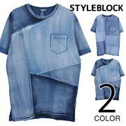 カットデニムクレイジー切り替えTシャツ/sb-275716