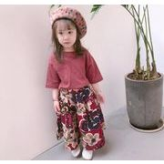 新作 子供服 夏 Tシャツ+ワイドパンツ 女の子 花柄 2点セット セットアップ