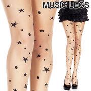 MusicLegs(ミュージックレッグス)ムーン×スター柄シアータトゥーストッキング/tattooタイツ ML7264
