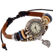 本革ハンドメイド民族風男女レディースメンズファッション★プレスレット腕時計★