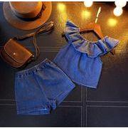 【業界最安値】子供服 夏 7-15# tシャツ+パンツ 女の子 デニム 2点セット セットアップ