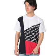 【2018春夏新作】20/-OE天竺 半袖 パネル切替 Tシャツ(総柄ロゴ 4パネル)