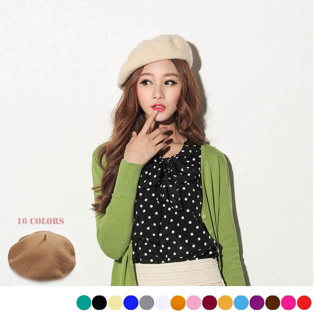 ベレー帽 ニットレディース帽子 秋冬 帽子レディース ベレー帽全16色 即納