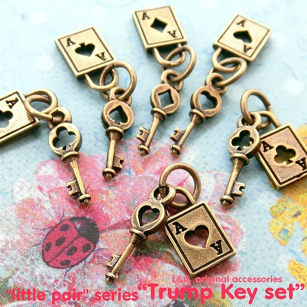 """▼SALE▼L&A original charm★トランプ&鍵のセットチャーム★金古美color★♪48""""trump key set"""""""