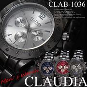 新作☆CLAUDIA★メタルタイプ ブラック デザインクロノグラフ メンズ 腕時計☆CLAB-1036